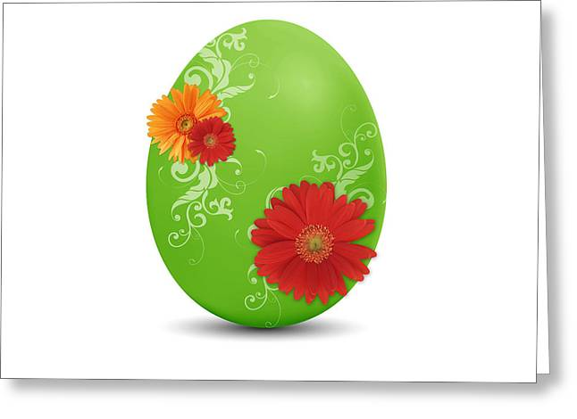 Easter Flowers Greeting Cards - Green Easter Egg Greeting Card by Aged Pixel