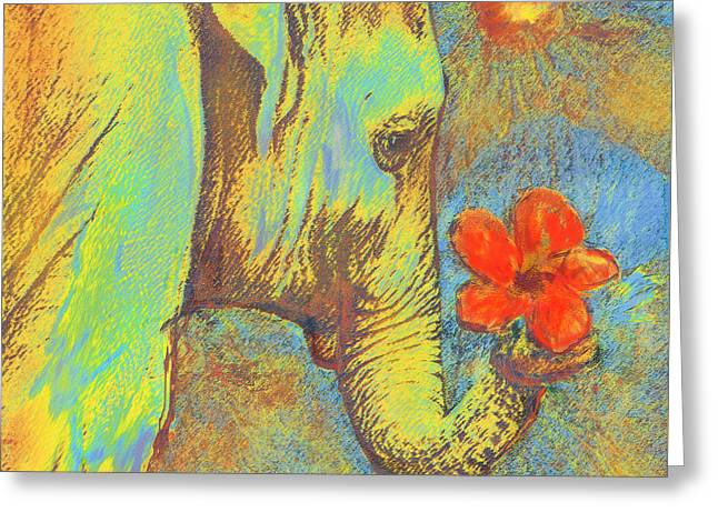Hibiscus Greeting Cards - Green Elephant Greeting Card by Jane Schnetlage