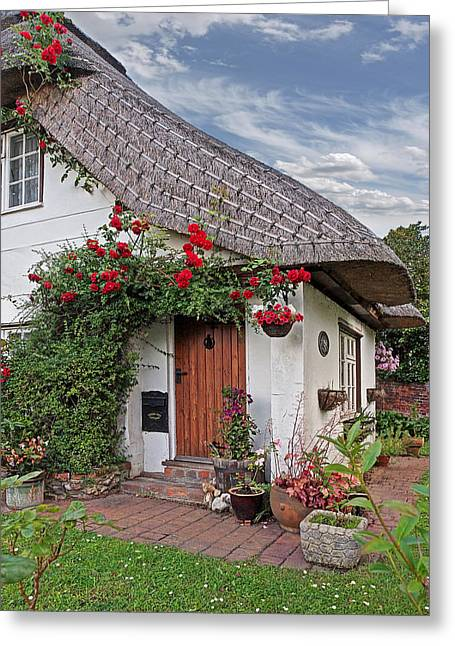 Thatch Greeting Cards - Green End Thatched Cottage Greeting Card by Gill Billington