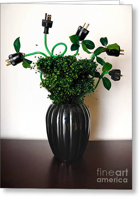 Electrical Plug Greeting Cards - Green Energy Floral Arrangement of Electrical Plugs Greeting Card by Amy Cicconi
