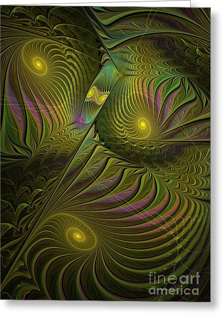 Surreal Geometric Greeting Cards - Green Envy Greeting Card by Deborah Benoit