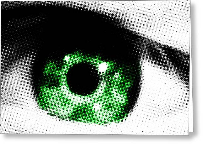 Lounge Digital Greeting Cards - Green Eye Abstract Greeting Card by Natalie Kinnear