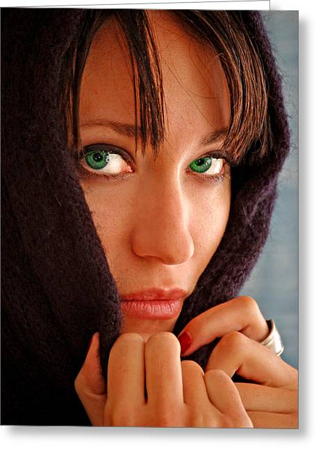 Jon Van Gilder Greeting Cards - Green Eyed Beauty Greeting Card by Jon Van Gilder