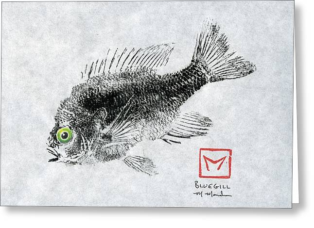 Spunky Greeting Cards - Green-Eyed Bluegill Greeting Card by Matt Monahan