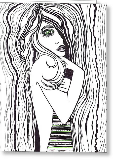 Hand On Chin Greeting Cards - Green Eyed Lady Greeting Card by Anna Kaszupski