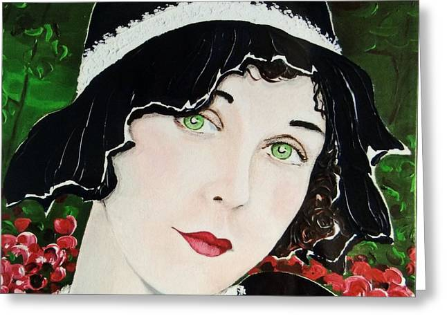 Woman In A Dress Greeting Cards - Green Eyes and Red Lips Greeting Card by Barbara Chase