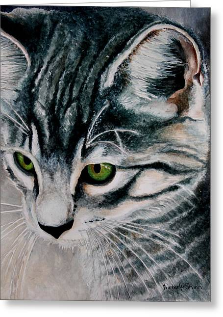 Animals Paintings Greeting Cards - Green Eyes Greeting Card by Kimberly Shinn