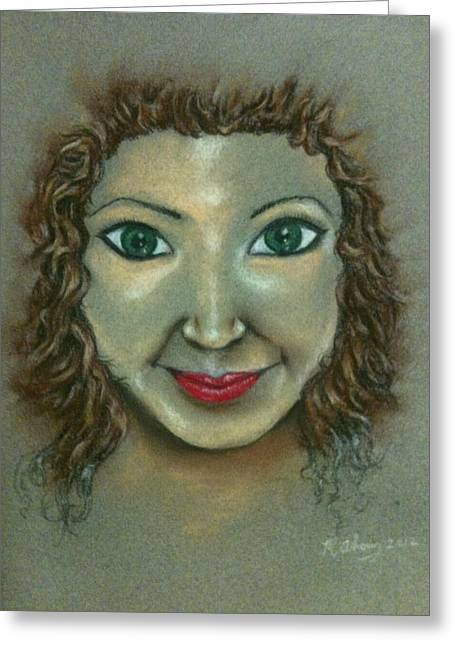 Red Lips Pastels Greeting Cards - Green eyes Greeting Card by Michael Alvarez