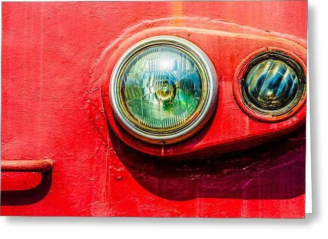 Painted Glass Greeting Cards - Green Eyes Of The Red Train Greeting Card by Alexander Senin