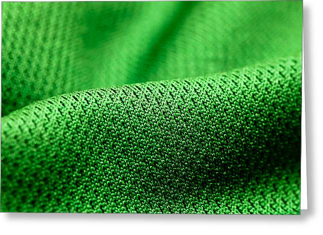 Faint Greeting Cards - Green fabric Greeting Card by Tom Gowanlock