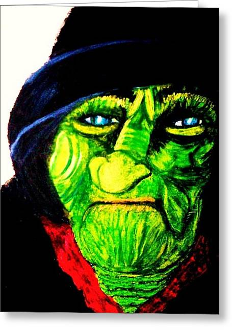 Monster Pastels Greeting Cards - Green Faced Witch Greeting Card by Jo-Ann Hayden
