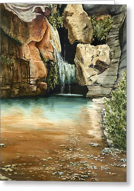 Waterfall Greeting Cards - Green Falls II Greeting Card by Sam Sidders