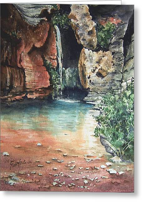 Waterfalls Paintings Greeting Cards - Green Falls Greeting Card by Sam Sidders