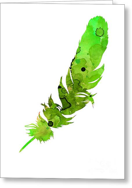 Bass Jewelry Greeting Cards - Green feather watercolor large poster Greeting Card by Joanna Szmerdt