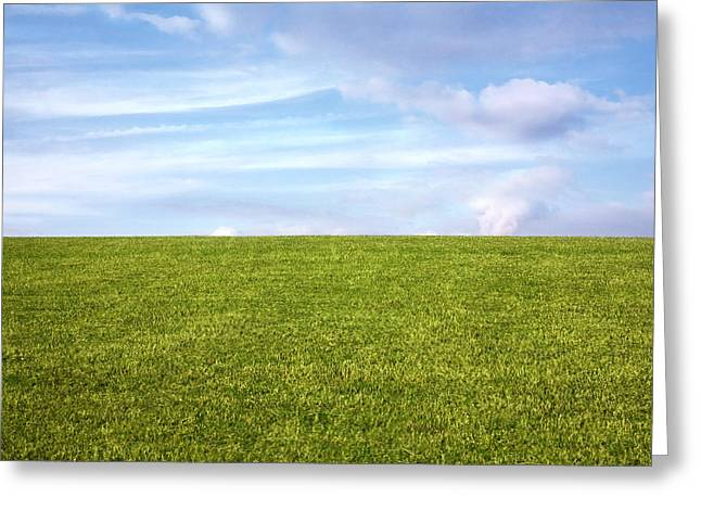 Field. Cloud Greeting Cards - Green Field Blue Sky Greeting Card by Natalie Kinnear