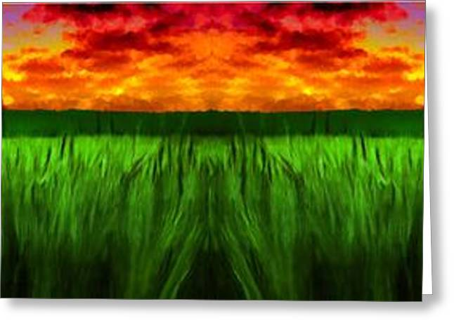 Gloaming Paintings Greeting Cards - Green Fields in the Morning Greeting Card by Bruce Nutting