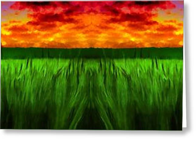 Gloaming Greeting Cards - Green Fields in the Morning Greeting Card by Bruce Nutting
