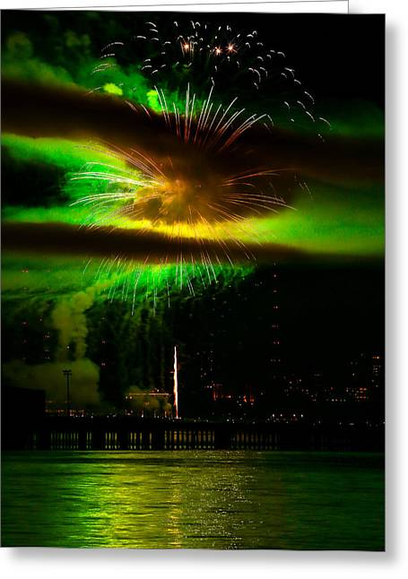 Kick Off Greeting Cards - Green Firework Greeting Card by Anna-Lee Cappaert