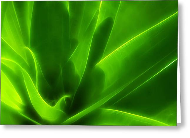 Green Flame Greeting Card by Suradej Chuephanich