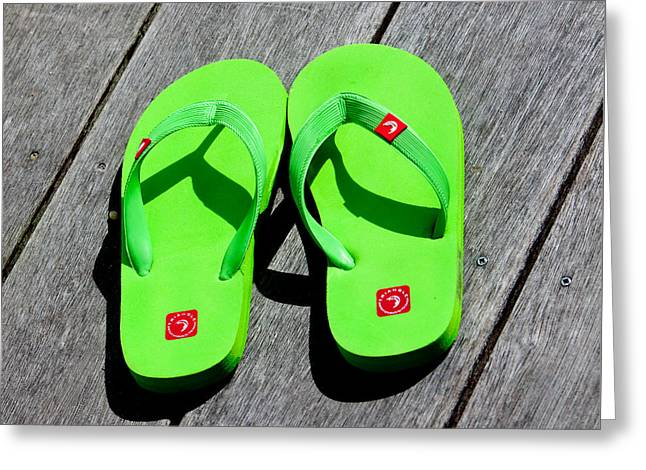 York Beach Greeting Cards - Green Flip Flops Greeting Card by Art Block Collections