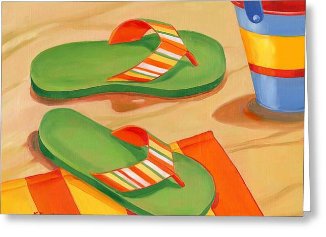 Flip Greeting Cards - Green Flip Flops Greeting Card by Paul Brent