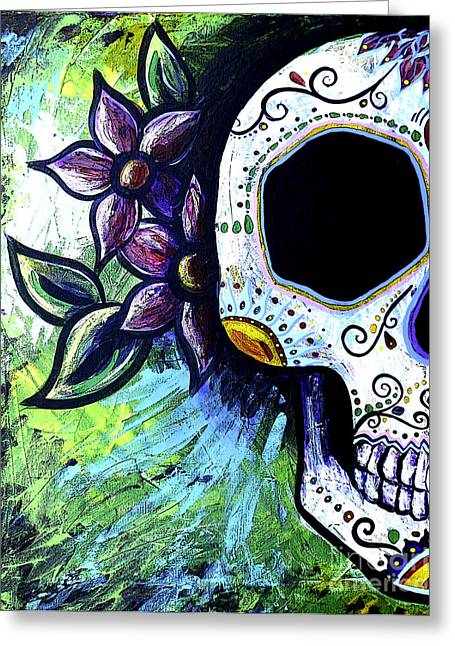 Marigold Festival Greeting Cards - Green Flower Skull Greeting Card by Lovejoy Creations