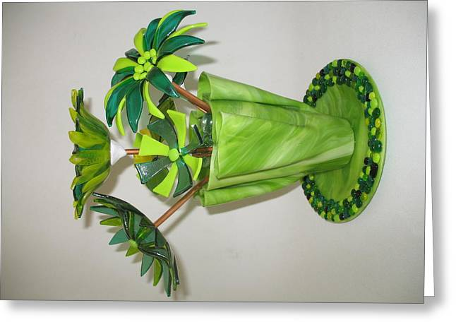 Fused Glass Art Greeting Cards - Green Flowers Greeting Card by Steven Schramek