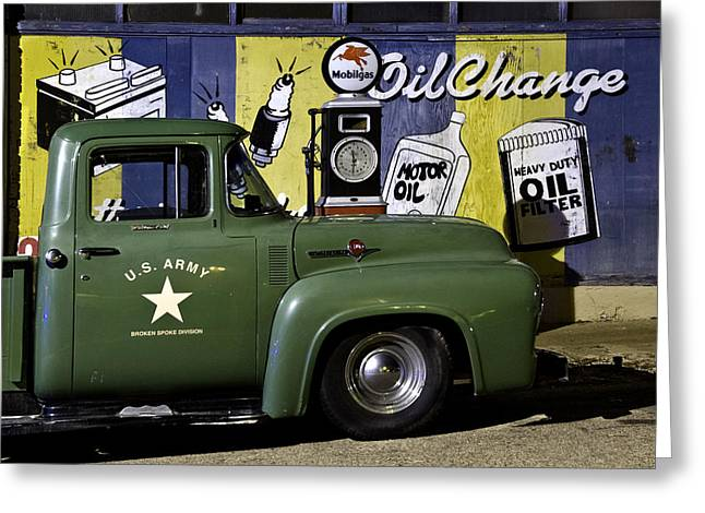 Petrol Green Greeting Cards - Green Ford Vintage Gas Station in Lowell AZ Greeting Card by Dave Dilli