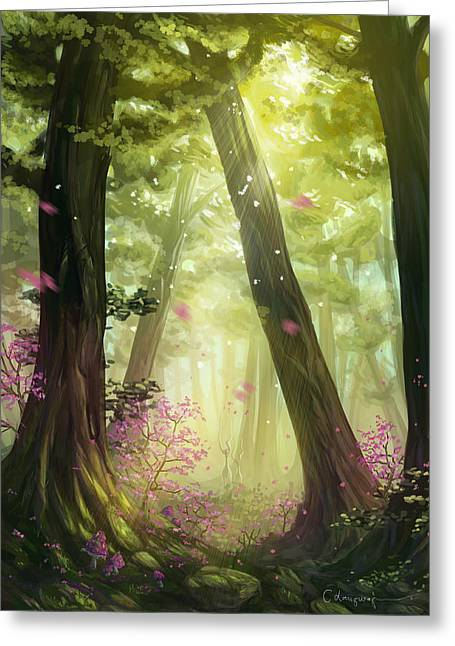 Green Forest Greeting Card by Cassiopeia Art