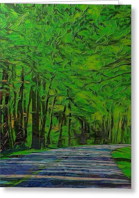 Driving Mixed Media Greeting Cards - Green Forest Drive On Metal Greeting Card by Dan Sproul