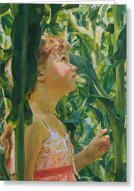 Girl Drawings Greeting Cards - Green forest of corn Greeting Card by Victoria Kharchenko