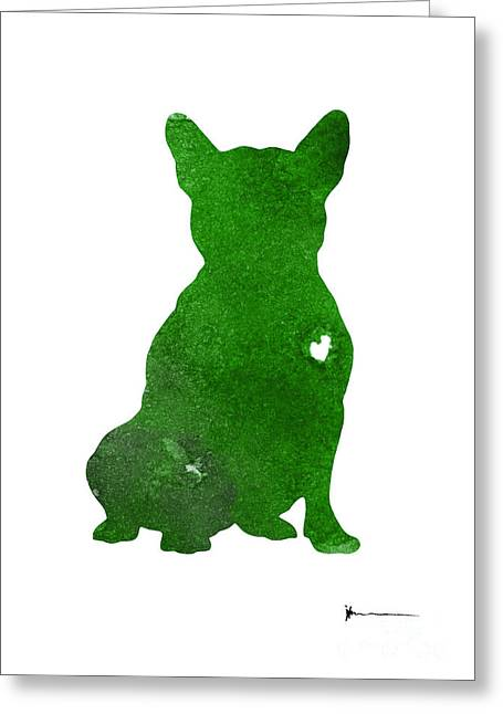 Green French Bulldog Art Print Watercolor Painting Greeting Card by Joanna Szmerdt