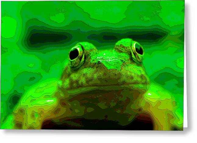 Tadpoles Mixed Media Greeting Cards - Green Frog Poster Greeting Card by Dan Sproul