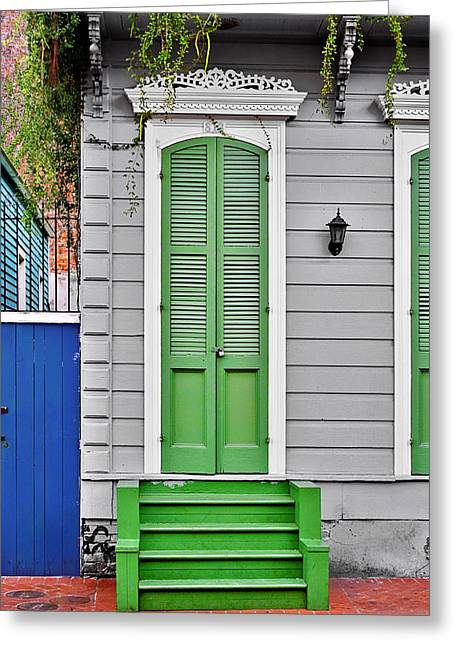 Entrance Door Greeting Cards - Green Front Door New Orleans Greeting Card by Christine Till
