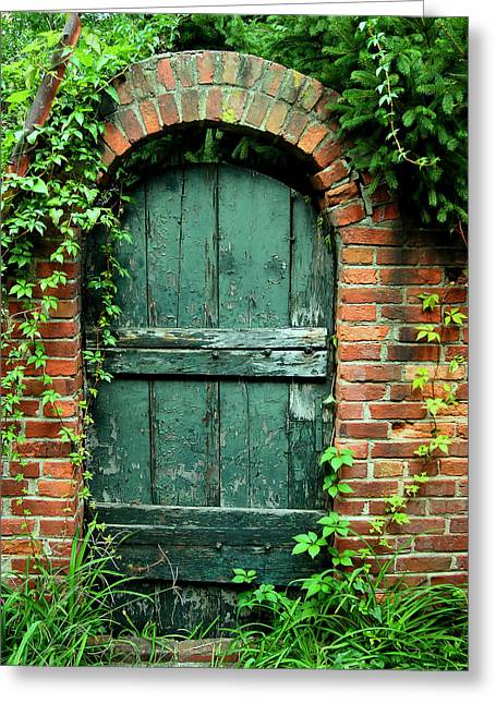 Historical Acrylic Prints Greeting Cards - Green Garden Door Greeting Card by Steven Ainsworth