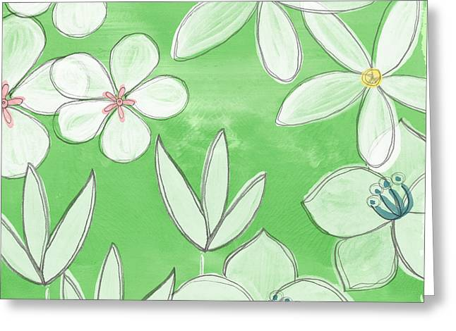 Pillow Greeting Cards - Green Garden Greeting Card by Linda Woods