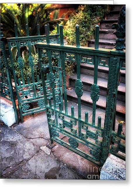 Green Gate Of Savannah Greeting Card by John Rizzuto