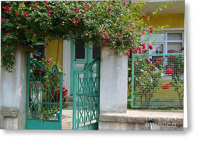 House With Gate Greeting Cards - Green Gate with Rose Trellis Greeting Card by Lou Ann Bagnall