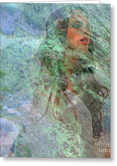 Fantasy World Pyrography Greeting Cards - Green Girl Greeting Card by Yury Bashkin