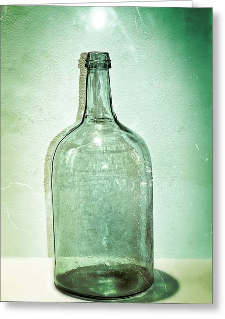 Glass Work Greeting Cards - Green Glass Bottle Greeting Card by Colleen Kammerer