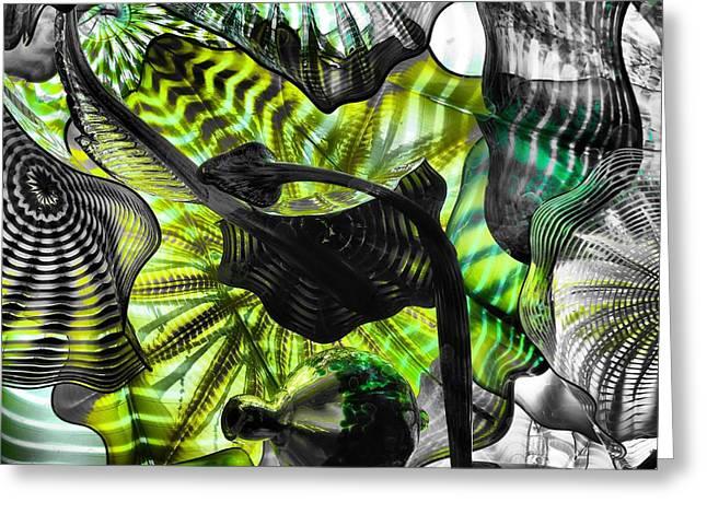 Art Blown Glass Photographs Photographs Greeting Cards - Green Glass Greeting Card by Dan Sproul