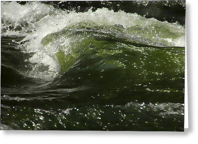 Water Flowing Greeting Cards - Green Glass Greeting Card by Donna Blackhall