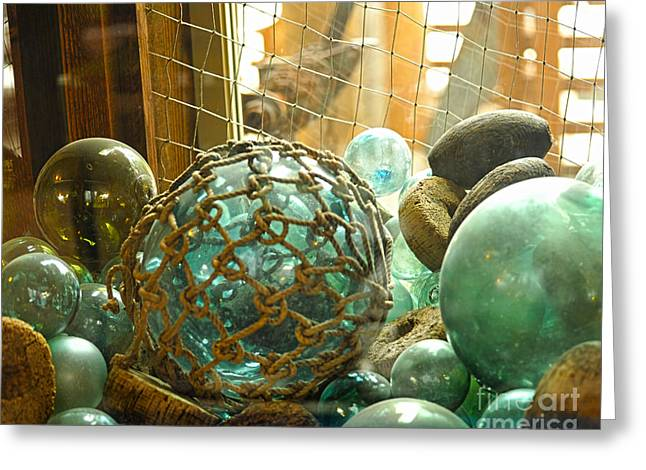 Glass Buoys Greeting Cards - Green Glass Japanese Glass Floats Greeting Card by Artist and Photographer Laura Wrede