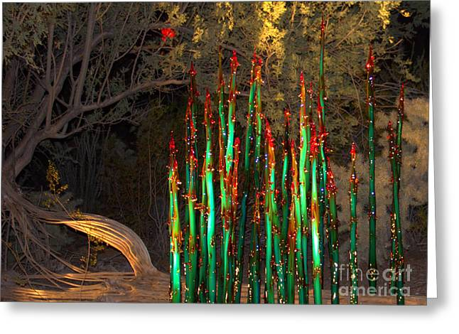 Shades Of Red Greeting Cards - Green Glass Spires Greeting Card by Carol Komassa