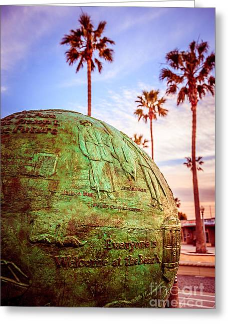 At The Beach Greeting Cards - Green Globe at Newport Beach Pier Picture Greeting Card by Paul Velgos