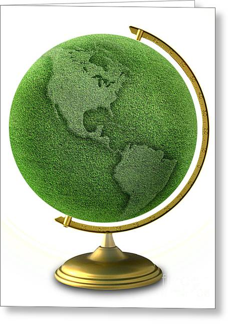 Co2 Greeting Cards - Green Globe Grass Greeting Card by Mike Agliolo