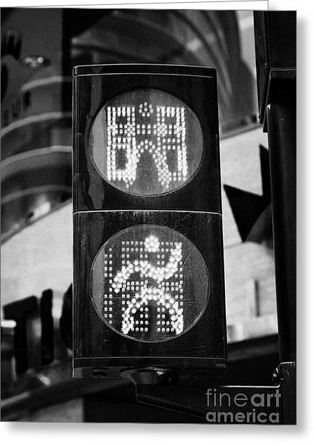 Green Go Pedestrian Crossing Traffic Lights Countdown Clock Crossing Road In Andorra La Vella Andorr Greeting Card by Joe Fox