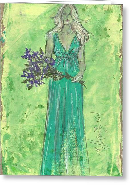 Holding Flower Drawings Greeting Cards - Green Goddess Dressing Greeting Card by P J Lewis