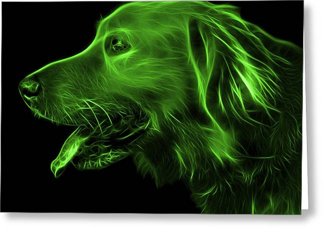 Dogs Digital Greeting Cards - Green Golden Retriever - 4047 F Greeting Card by James Ahn