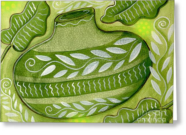 Mixed Media Greeting Cards - Green Gourd Greeting Card by Elaine Jackson
